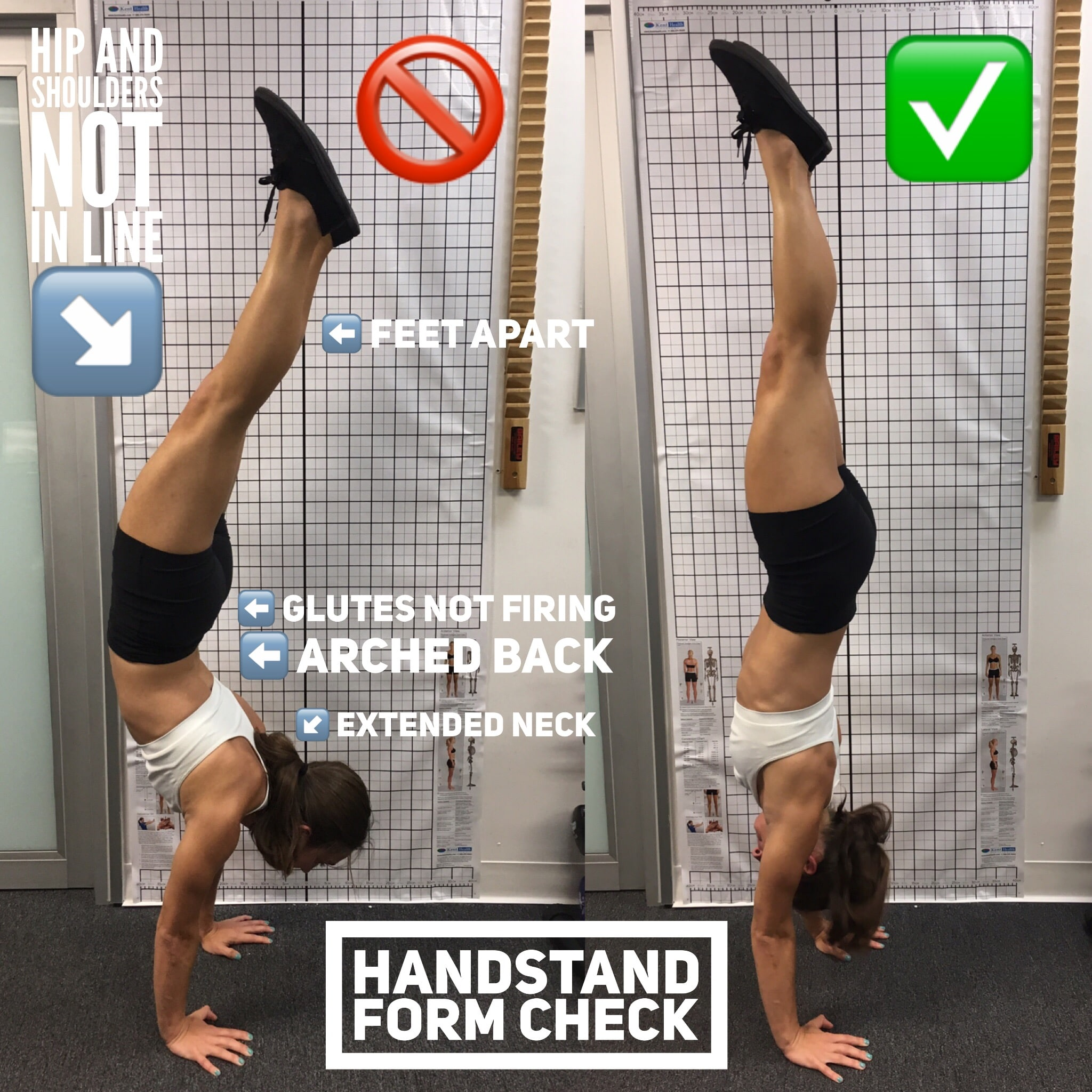 handstand, good form, bad form, gymnastics, tumbling, health, physical therapy